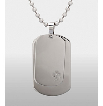 Men's Stainless Steel .06 ct. t.w. Diamond Accent Dog Tags Necklace