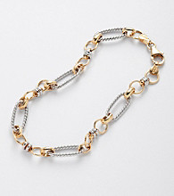 Sterling Silver and 14K Gold Oval Link Bracelet