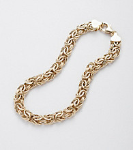 14K Gold-Over-Sterling Silver Byzantine Bracelet