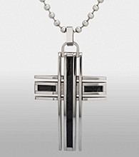 Men's Stainless Steel and Carbon Fiber Cross Pendant