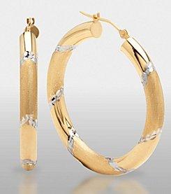 14K Gold and Sterling Silver Hoop Earrings