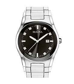 Bulova® Men's Stainless Steel Round Black Dial Watch