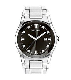 Bulova® Men's Stainless Steel Round Black Dial Watch
