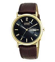 Citizen® Men's Eco-Drive Leather Strap with Black Dial Watch