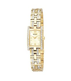 Citizen® Women's Eco-Drive Yellow Plated Crystal Rectangular Watch
