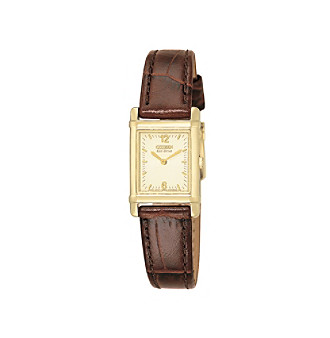 Citizen®Women's Eco-Drive Leather Strap with Champagne Dial Watch