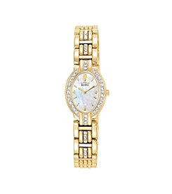Citizen® Women's Eco-Drive Yellow Plated Crystal Oval Watch