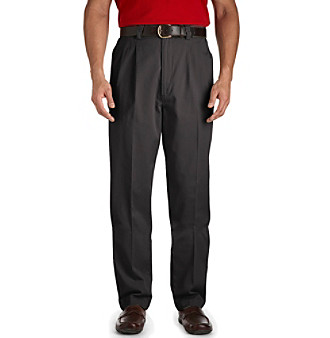 Harbor Bay® Men's Big & Tall Waist-Relaxer® Twill Pleated Pants