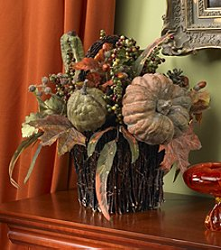 Nearly Natural® Pumpkin & Berry Table Arrangement