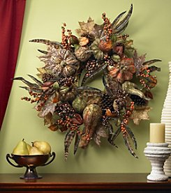 Nearly Natural® Autumn Pumpkin Wreath