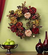 Nearly Natural® Autumn Hydrangea & Peony Wreath
