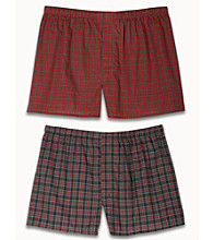 Harbor Bay® Men's Big & Tall 2-pk. Plaid Boxers - Red