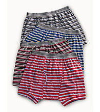 Harbor Bay® Men's Big & Tall 2-pk. Striped Boxer Briefs