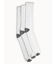 Harbor Bay® Men's Big & Tall 3-pk. Athletic Crew Socks - White