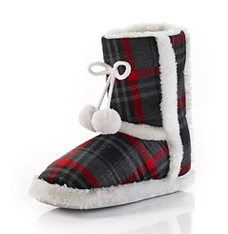 Jesco Plaid Slipper Boots