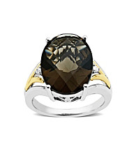 Sterling Silver and 14K Gold Smoky Quartz Ring