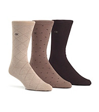 Calvin Klein Men's 3-Pack Assorted Windowpane Socks
