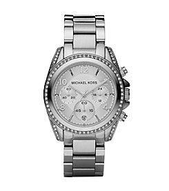 Michael Kors® Mid-Size Silvertone Stainless Steel Blair Chronograph Glitz Watch