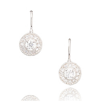 Athra Sterling Silver and Cubic Zirconia Circle Drop Earring
