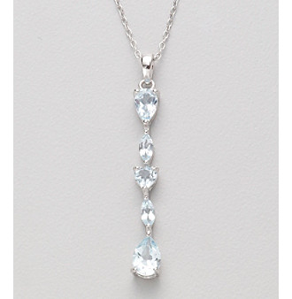 Rhodium-Plated Sterling Silver and Genuine Sky Blue Topaz Pendant Necklace