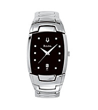 Bulova® Men's Stainless Steel with Square Black Dial Watch