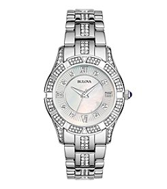 Bulova® Women's Stainless Steel with Mother-of-Pearl Face and Crystal Watch