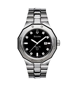 Bulova® Men's Marine Star Stainless Steel with Black Dial Watch