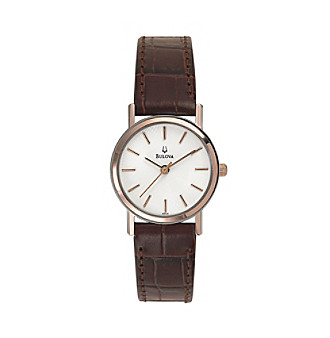Bulova® Women's Brown Leather Strap with White Dial Watch