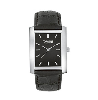 Caravelle® by Bulova Men's Black Leather Strap with Black Dial Watch