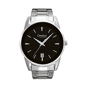 Caravelle® by Bulova Men's Stainless Steel with Black Dial Watch