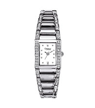 Caravelle® by Bulova Women's White Bracelet with Square Case and Crystal Watch