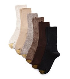 GOLD TOE® Ribbed Crew Socks 6-Pack