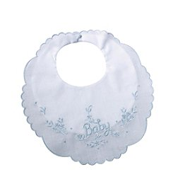"Lillian Rose® Embroidered Blue ""Baby"" Bib"