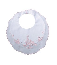 "Lillian Rose® Embroidered Pink ""Baby"" Bib"