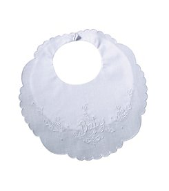 "Lillian Rose® Embroidered White ""Baby"" Bib"