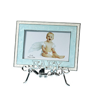 "Lillian Rose® 4""x6"" ""Baby"" Blue Frame and Silver-plated Stand"