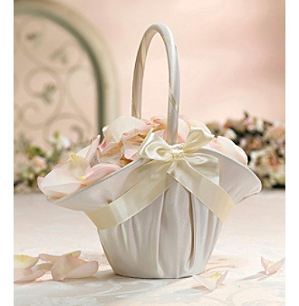 Lillian Rose® Large Ivory Satin Flower Basket