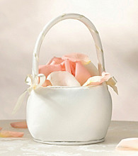 Lillian Rose® Plain Ivory Satin Round Flower Basket