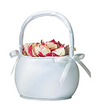Lillian Rose® Plain White Satin Round Flower Basket