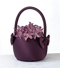 Lillian Rose® Plum Satin Flower Basket