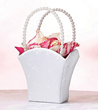 Lillian Rose® Elegant Embroidered White Flower Basket
