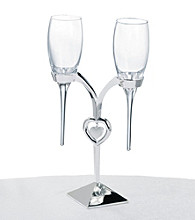 Lillian Rose® 3-pc. Silvertone Heart Toasting Glass Set