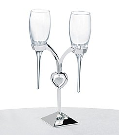 Lillian Rose® 3-pc. Silvertone Heart Toasting Glass Set