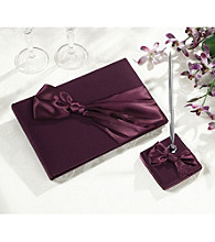 Lillian Rose® 3-pc. Plum Satin Guestbook, Pen Stand & Pen Set