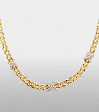 Sterling Silver and 14K Gold Rope Necklace