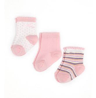 Cuddle Bear® Infant Girls' 3-Pack Socks - Pink Multi