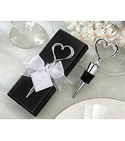 Kate Aspen Set of 12 Chrome Heart Bottle Stopper in Showcase Display Box