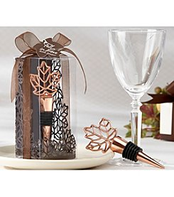 "Kate Aspen ""Lustrous Leaf"" Copper Finish Bottle Stopper in Leaf Gift Box - Set of 8"