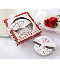 Kate Aspen A Slice of Love Stainless-Steel Pizza Cutter in Miniature Pizza Box - Set of 12