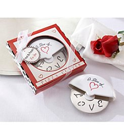 Kate Aspen Set of 12 A Slice of Love Stainless-Steel Pizza Cutter in Miniature Pizza Box